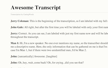 Transcription Services Example image